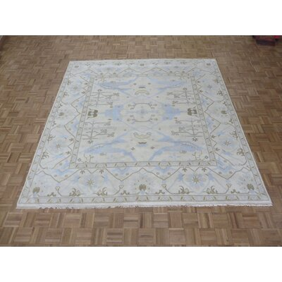 One-of-a-Kind Pellegrino Oushak Peshawar Hand-Knotted Wool Ivory Area Rug