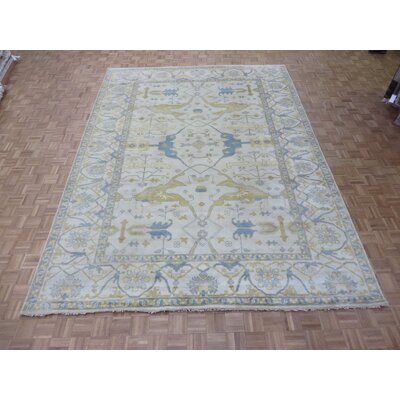 One-of-a-Kind Pellegrino Turkish Oushak Hand-Knotted Ivory Area Rug