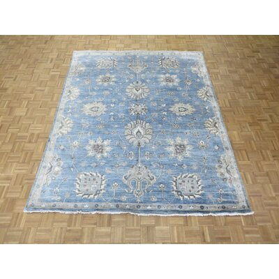 One-of-a-Kind Pellegrino Oushak Hand-Knotted Sky Blue Area Rug