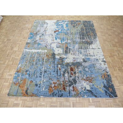 One-of-a-Kind Pellegrino Modern Abstract Hand-Knotted White/Blue Area Rug