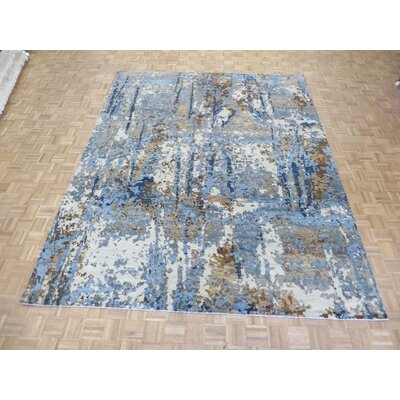 One-of-a-Kind Pellegrino Modern Abstract Hand-Knotted Wool Blue/Brown Area Rug