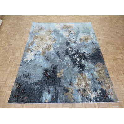 One-of-a-Kind Pellegrino Modern Abstract Hand-Knotted Gray/Sky Blue Area Rug