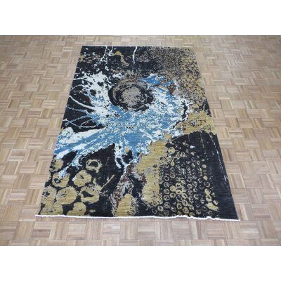 One-of-a-Kind Padang Sidempuan Modern Abstract Hand-Knotted Silk Red/Gray Area Rug