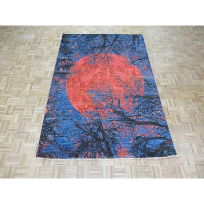 One-of-a-Kind Padang Sidempuan Modern Abstract Hand-Knotted Red/Blue Area Rug