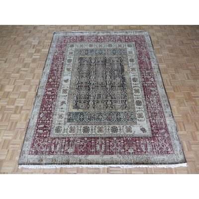 One-of-a-Kind Rhyne Agra Oushak Hand-Knotted Cotton Chocolate Brown Area Rug