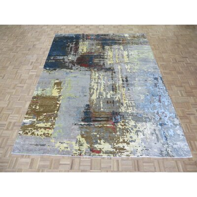 One-of-a-Kind Ziegler Modern Abstract Hand-Knotted Cotton Black/Yellow Area Rug