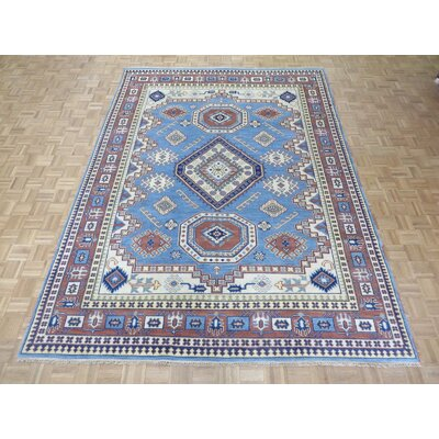 One-of-a-Kind Padula Tribal Hand-Knotted Wool Light Blue/Red Area Rug Rug Size: Rectangle 89 x 1111