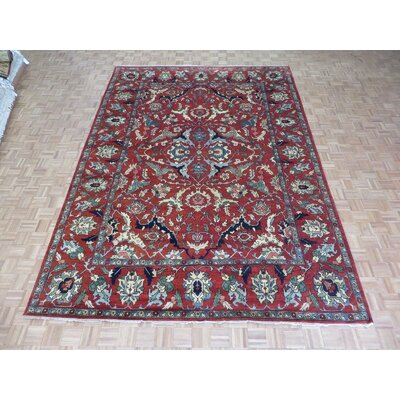 One-of-a-Kind Padro Serapi Heriz Hand-Knotted Brick Red Area Rug