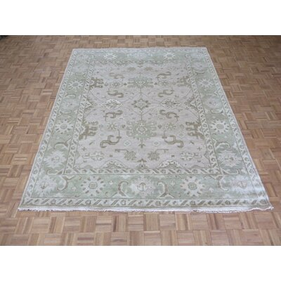 One-of-a-Kind Josephson Oushak Hand-Knotted Rayon from Bamboo Silk Ivory Sage Green Area Rug