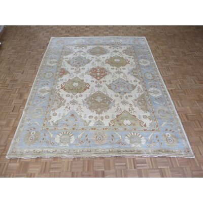 One-of-a-Kind Josephson Oushak Hand-Knotted Wool Ivory/Light Blue Area Rug