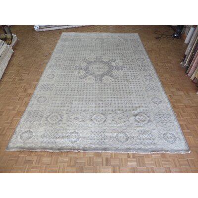 One-of-a-Kind Pagan Oushak Heriz Hand-Knotted Wool Gray Area Rug Rug Size: Rectangle 98 x 139