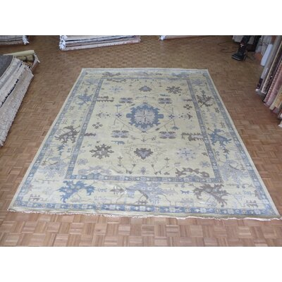 One-of-a-Kind Rhyne Oushak Hand-Knotted Wool Charcoal Light Gold Area Rug