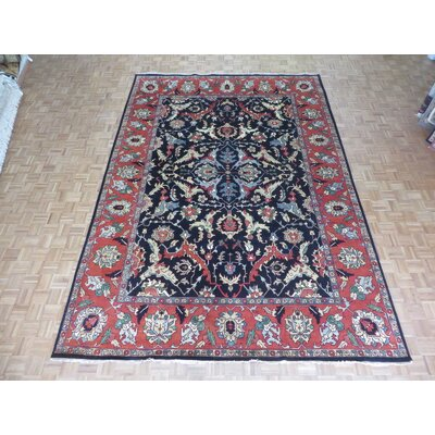 One-of-a-Kind Padro Serapi Heriz Hand-Knotted Wool Navy Blue Area Rug