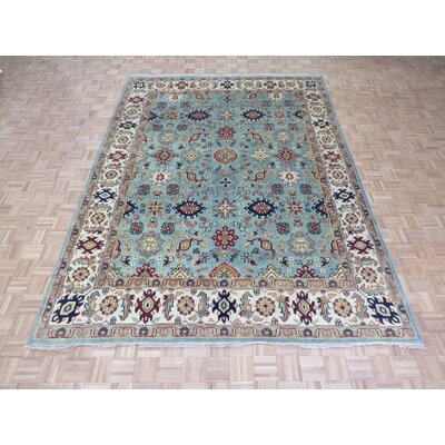 One-of-a-Kind Padro Serapi Heriz Hand-Knotted Wool Light Blue Area Rug