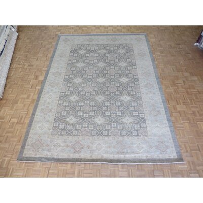 One-of-a-Kind Railsback Khotan Oushak Hand-Knotted Wool Gray/Soft Blue Area Rug