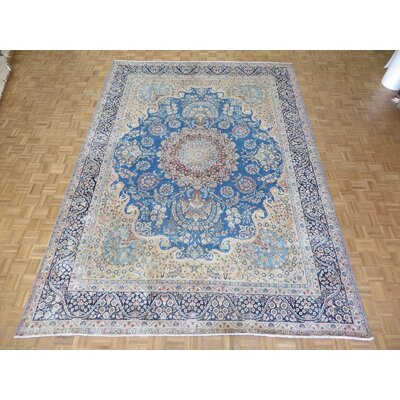 One-of-a-Kind Padro Kerman Hand-Knotted Blue Area Rug