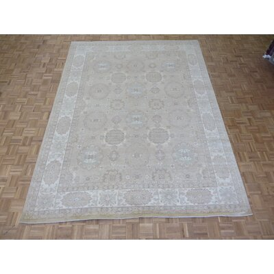 One-of-a-Kind Railsback Oushak Hand-Knotted Wool Beige Area Rug