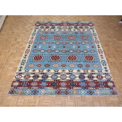 One-of-a-Kind Pafford Hand-Knotted Wool Light Blue Area Rug