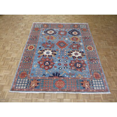 One-of-a-Kind Railsback Mahal Hand-Knotted Wool Sky Blue Area Rug