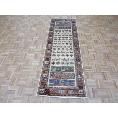 One-of-a-Kind Railsback Animals Hand-Knotted Wool Ivory Area Rug