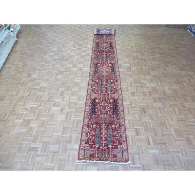 One-of-a-Kind Railsback Willow Tree Hand-Knotted Wool Red Area Rug