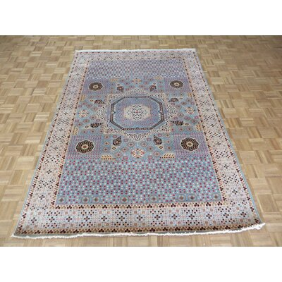 One-of-a-Kind Pagan Hand-Knotted Wool Sky Blue Area Rug Rug Size: Rectangle 6 x 9