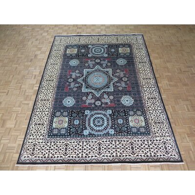 One-of-a-Kind Pagan Hand-Knotted Wool Black Area Rug