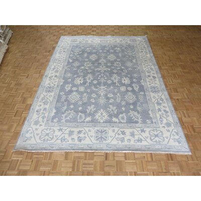 One-of-a-Kind Josephson Oushak Ushak Hand-Knotted Wool Silver/Blue Area Rug