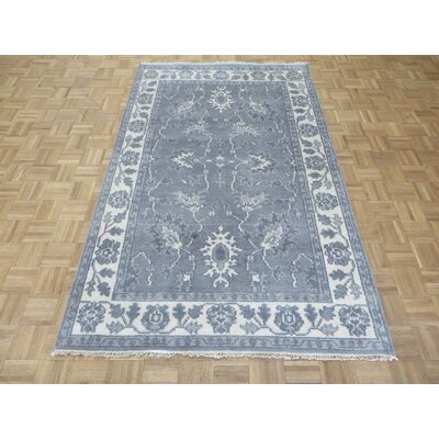 One-of-a-Kind Sherika Oushak Ushak Hand-Knotted Silk Gray Area Rug
