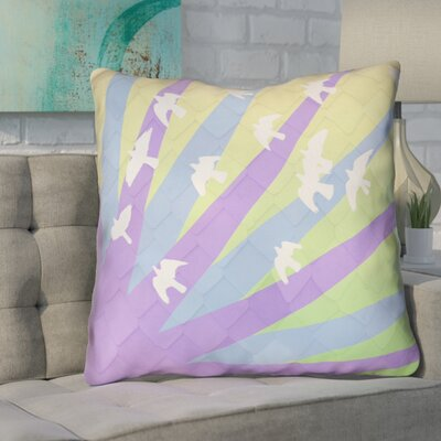 Enciso Birds and Sun Throw Pillow Color: Purple/Blue/Yellow Ombre, Size: 20 H x 20 W