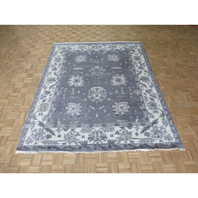 One-of-a-Kind Josephson Oushak Ushak Hand-Knotted Silk Silver/Blue Area Rug