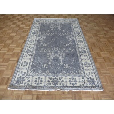 One-of-a-Kind Holz Oushak Ushak Hand-Knotted Wool Gray Area Rug
