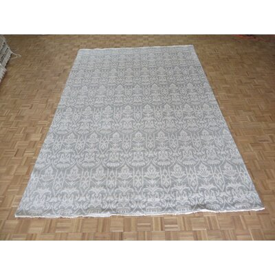 One-of-a-Kind Josephson Oushak Ushak Hand-Knotted Rayon from Bamboo Silk Gray Area Rug