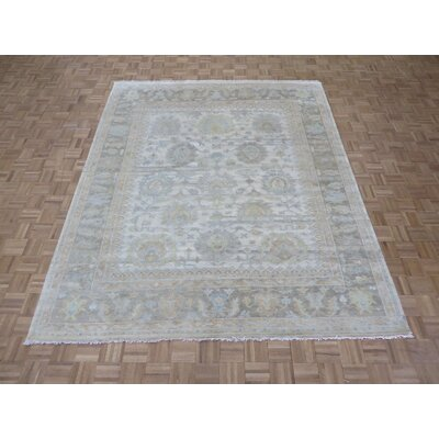 One-of-a-Kind Emerystone Oushak Ushak Hand-Knotted Ivory/Gray Area Rug