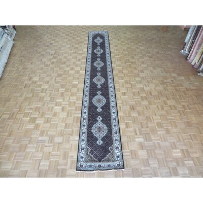 One-of-a-Kind Raiden Hand-Knotted Black Area Rug Rug Size: Runner 3 x 10