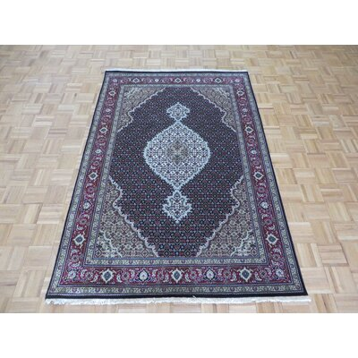 One-of-a-Kind Padro Hand-Knotted Black Area Rug