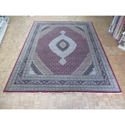 One-of-a-Kind Raiden Hand-Knotted Wool Red/Black Area Rug