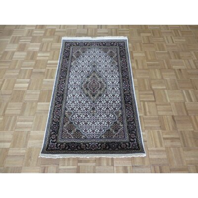 One-of-a-Kind Padro Mahi Hand-Knotted Wool Ivory/Black Area Rug