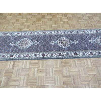 One-of-a-Kind Raiden Hand-Knotted Wool Blue Area Rug Rug Size: Runner 28 x 1311