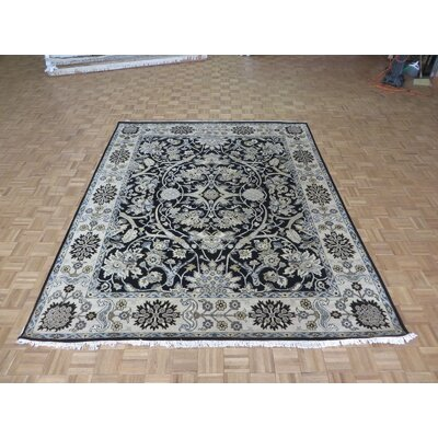 One-of-a-Kind Railey Hand-Knotted Wool Navy Blue Area Rug