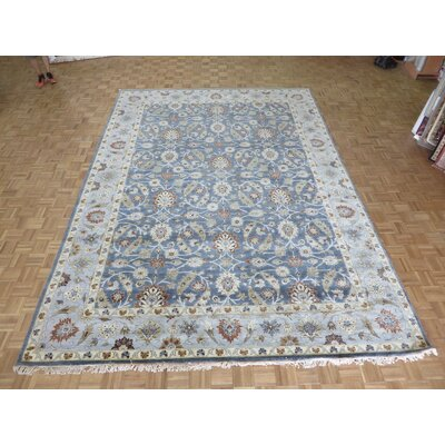 One-of-a-Kind Railey Oushak Hand-Knotted Wool Blue Area Rug