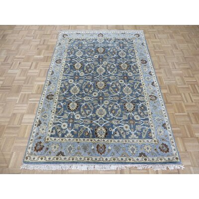 One-of-a-Kind Railey Peshawar Oushak Hand-Knotted Wool Blue Area Rug