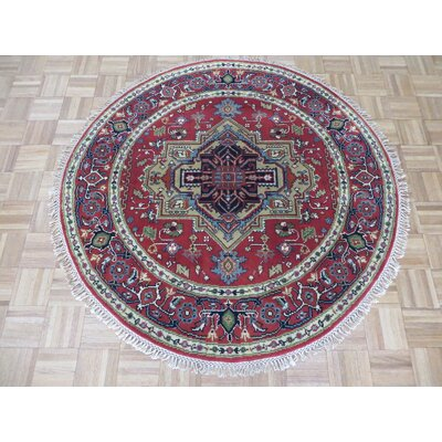 One-of-a-Kind Pellegrino Serapi Heriz Hand-Knotted Brick Red Area Rug