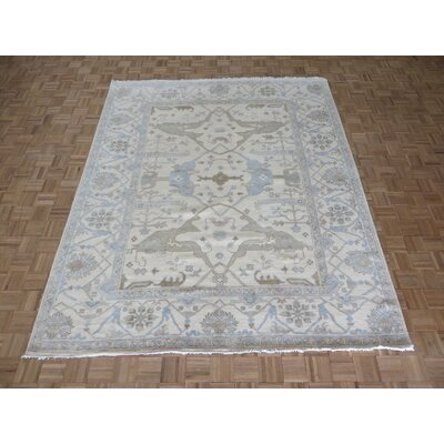 One-of-a-Kind Pellegrino Oushak Ushak Hand-Knotted Wool Ivory Area Rug