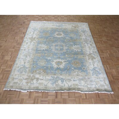 One-of-a-Kind Pellegrino Oushak Ushak Hand-Knotted Wool Sky Blue Area Rug