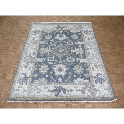 One-of-a-Kind Pellegrino Oushak Ushak Hand-Knotted Wool Denim Blue Area Rug