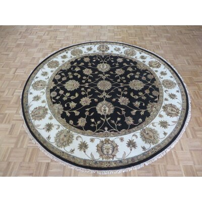 One-of-a-Kind Josephson Hand-Knotted Wool Black Area Rug Rug Size: Round 711 x 8