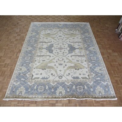 One-of-a-Kind Pellegrino Oushak Ushak Hand-Knotted Wool Ivory/Sky Blue Area Rug
