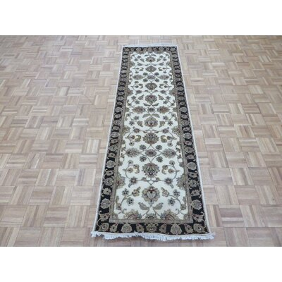 One-of-a-Kind Josephson Hand-Knotted Wool Ivory/Black Area Rug