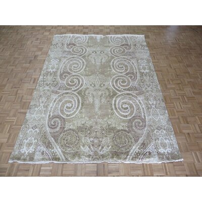 One-of-a-Kind Pellegrino Modern Hand-Knotted Wool Beige/Brown Area Rug